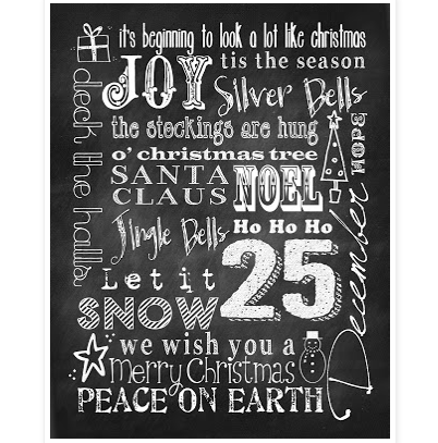 chalkboard art printables for christmas