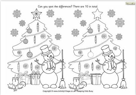 graphic relating to Printable Spot the Difference named Xmas Destination The Variance Printable - Xmas Printables