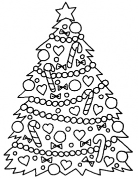 christmas tree to colour printable