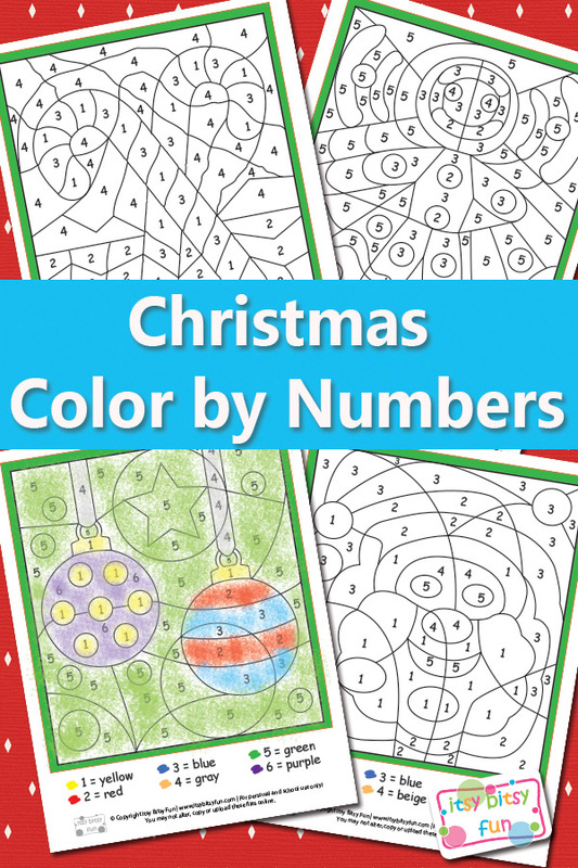 colour by number printables for christmas