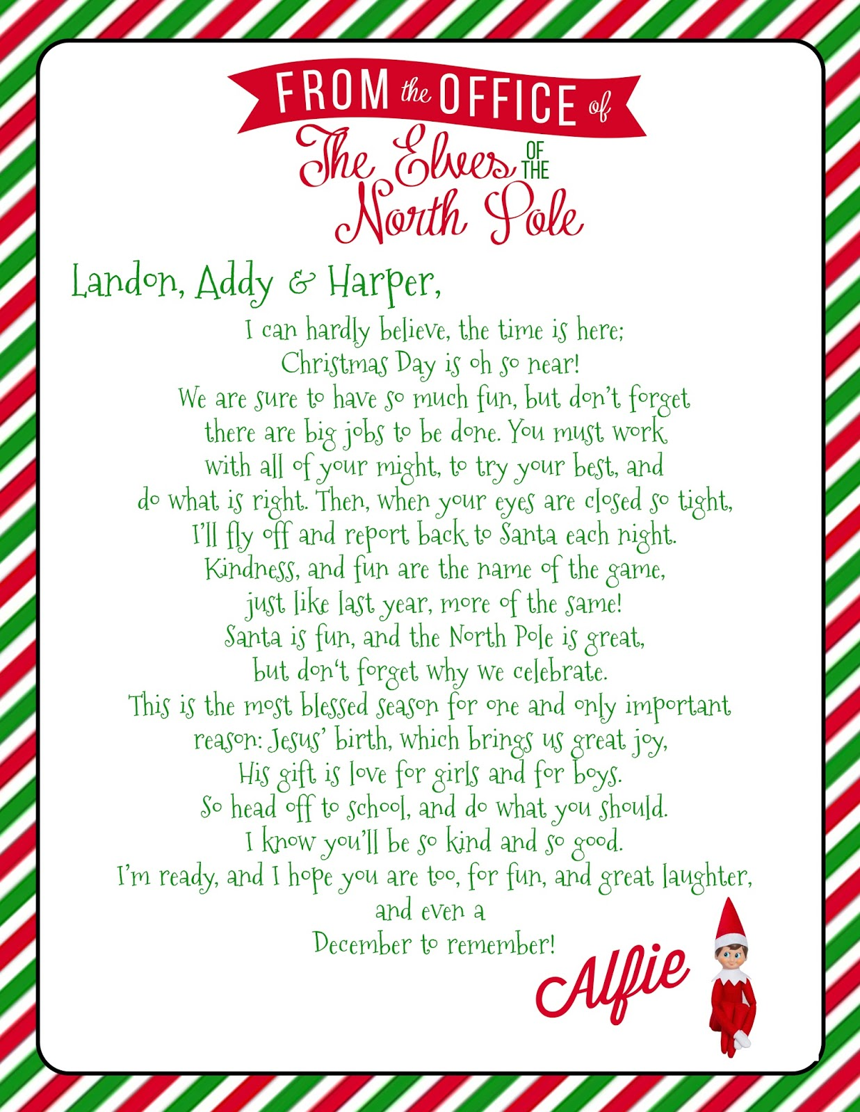 elf on the shelf welcome letter free printable