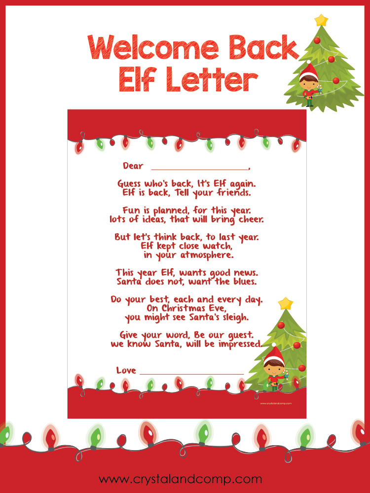 elf welcome letter printable