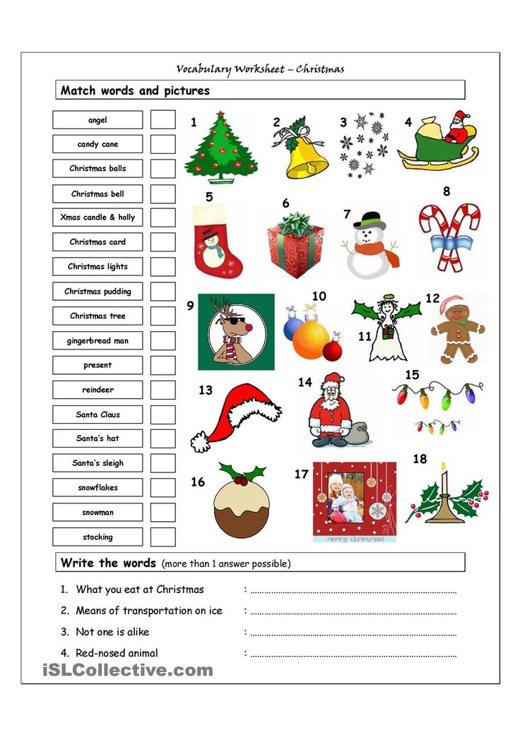 esl printables for christmas