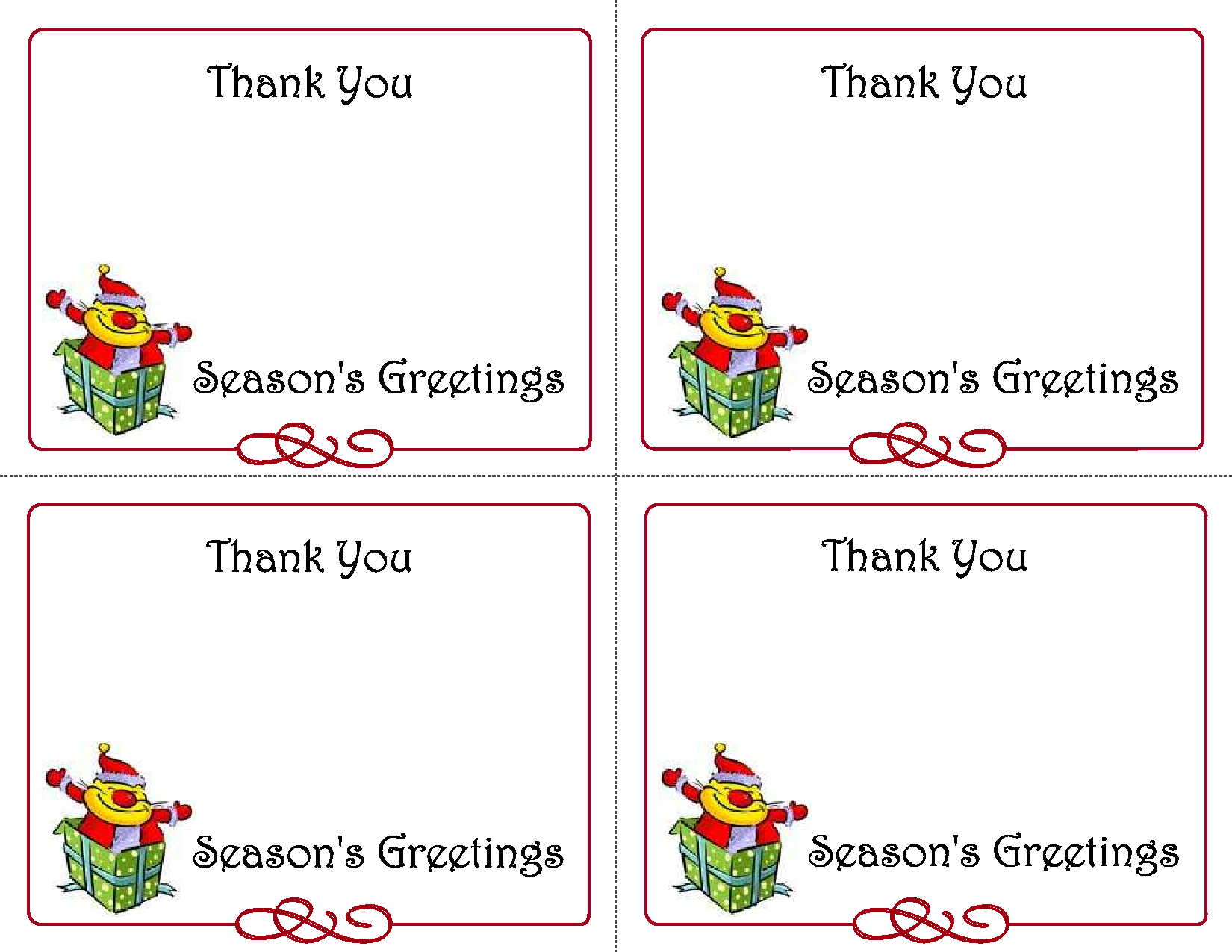 image relating to Christmas Thank You Cards Printable Free referred to as Cost-free Printable Xmas Card Templates For Small children - Xmas