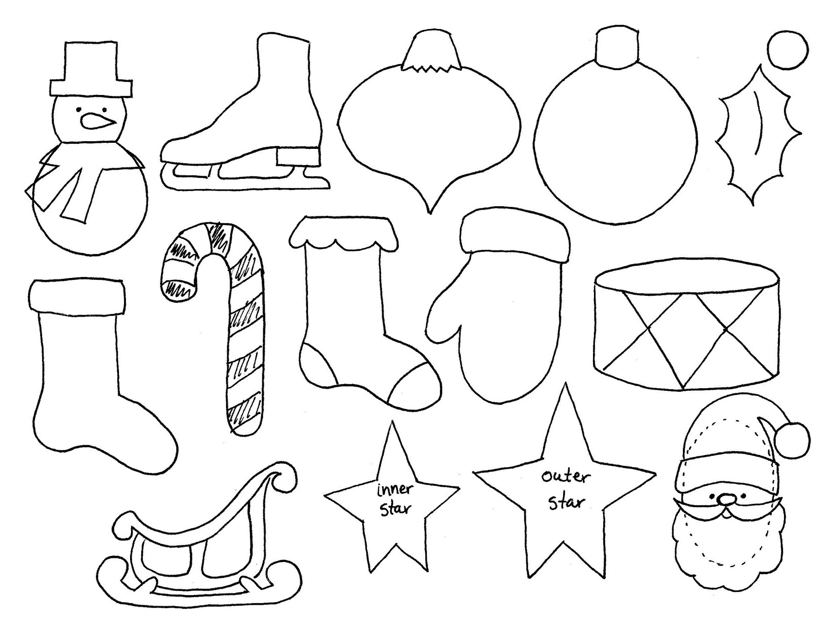 photo about Printable Christmas Stencils known as Free of charge Printable Xmas Cutouts - Xmas Printables