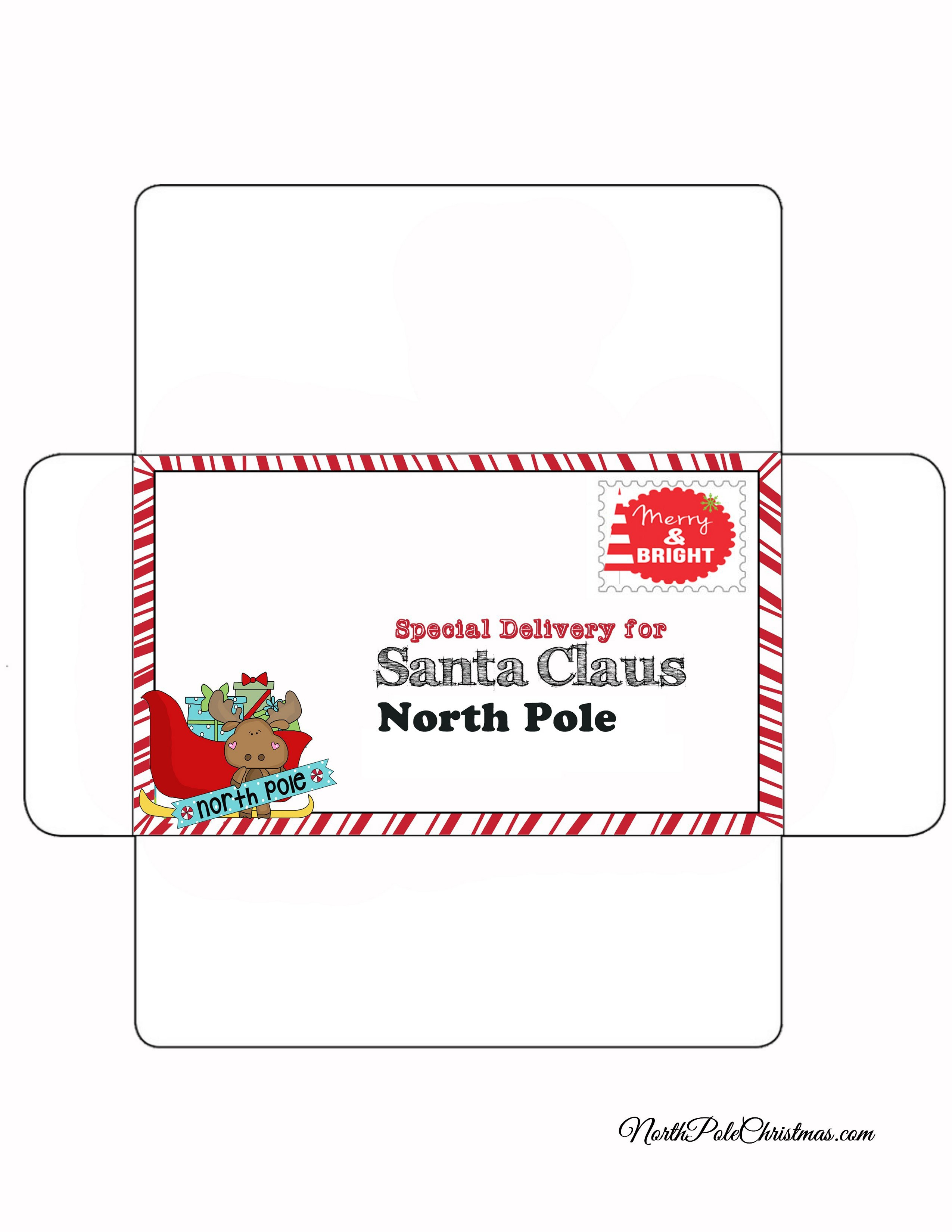picture relating to Printable Envelopes called Free of charge Printable Santa Envelopes North Pole - Xmas Printables