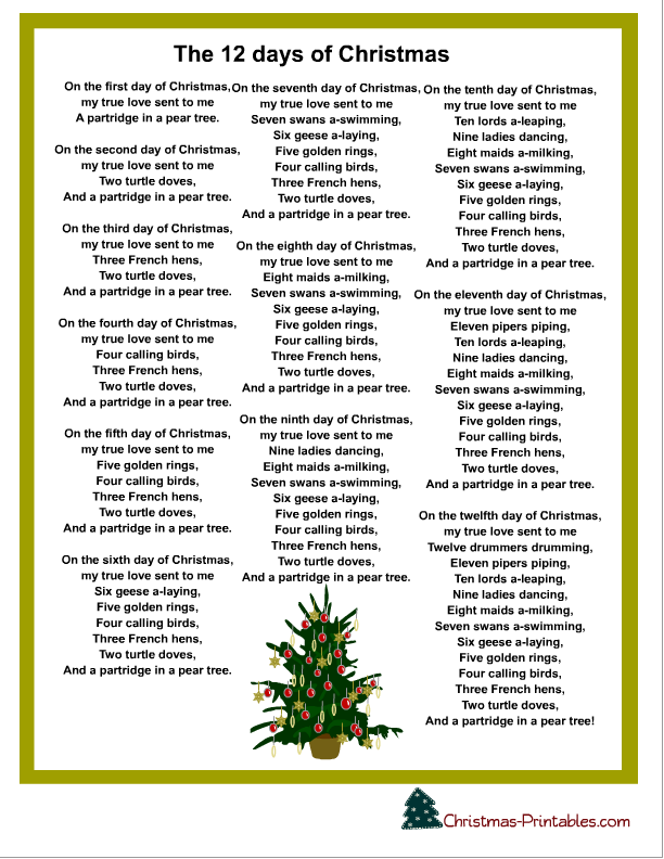 lyric printables for christmas