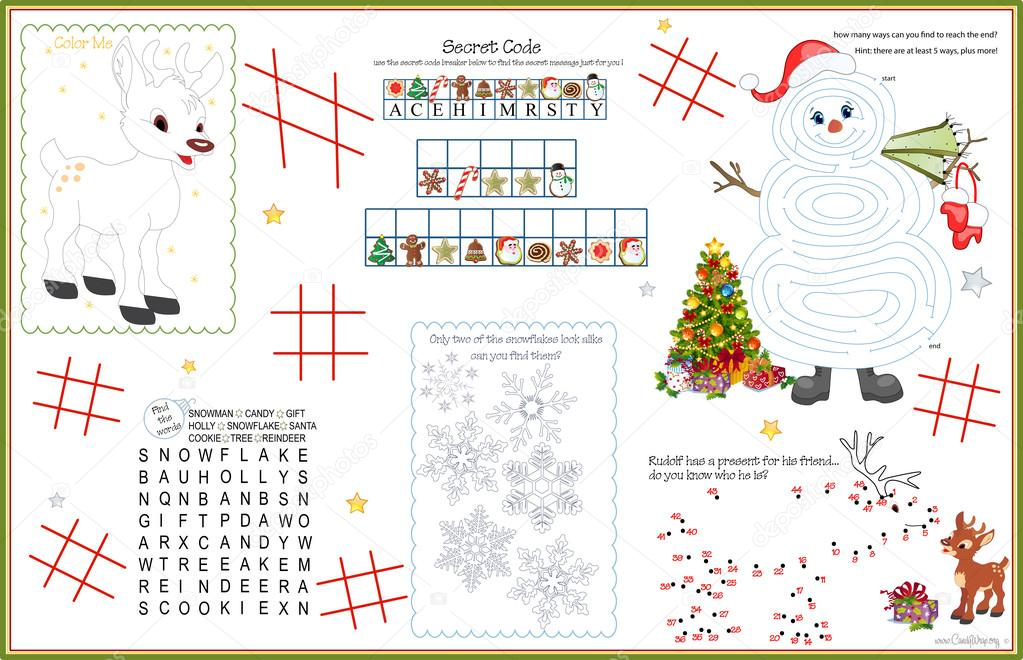 placemat printables for christmas