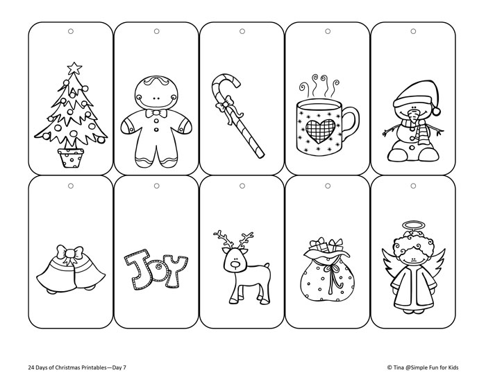 printable coloring christmas tags