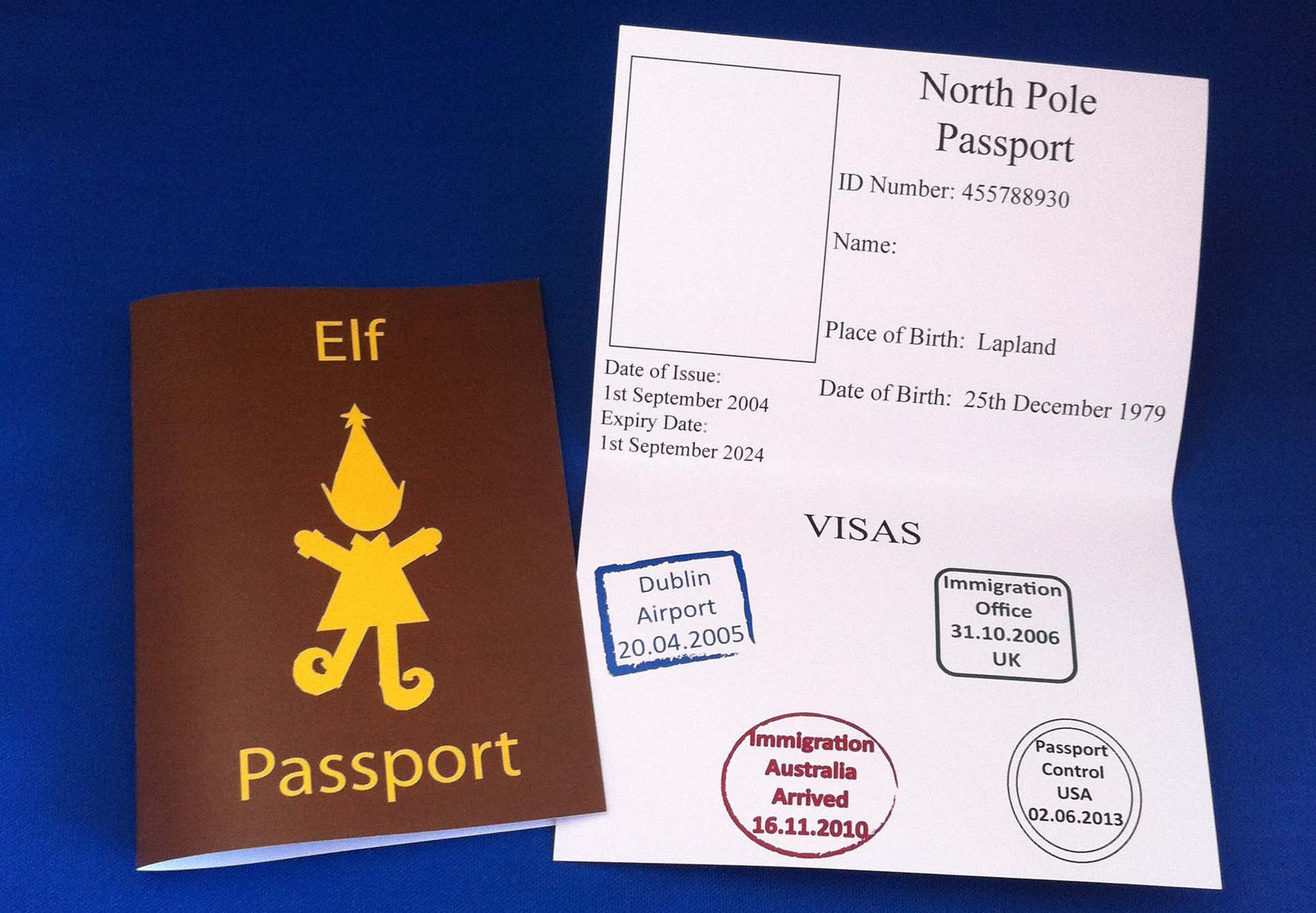 image relating to Passport Printable named Printable Elf Pport - Xmas Printables
