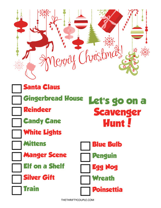scavenger hunt printables for christmas