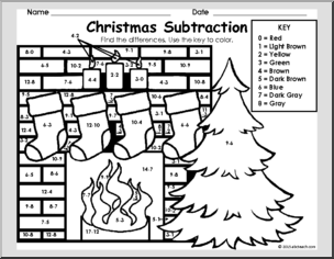 subtraction printables for christmas
