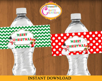 water bottle printables for christmas