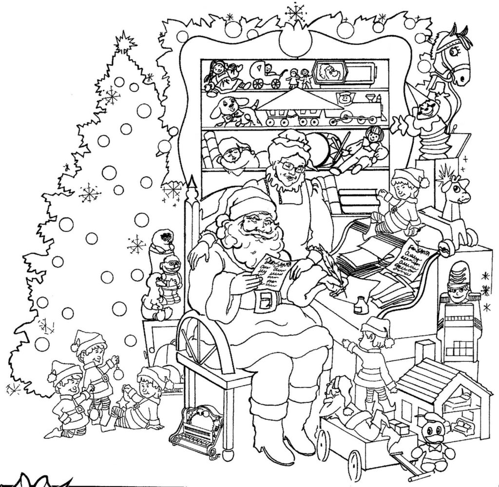 Big Detailed Free Coloring Page For Adults Christmas || COLORING ... | 1000x1024