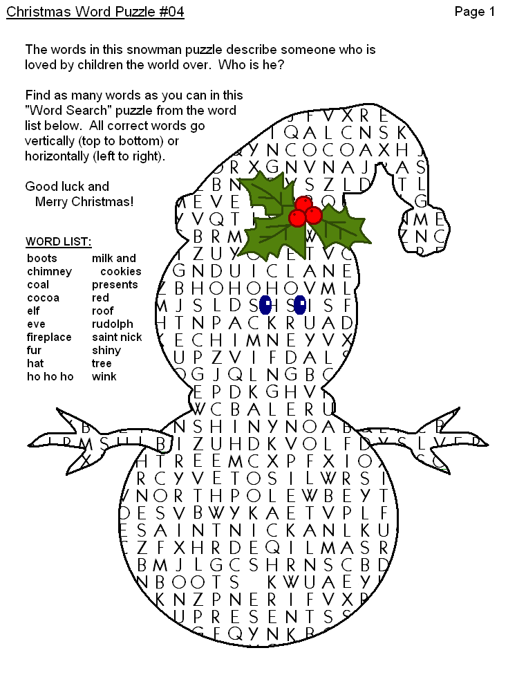 christmas puzzles to print