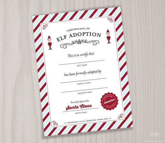 elf certificate printable