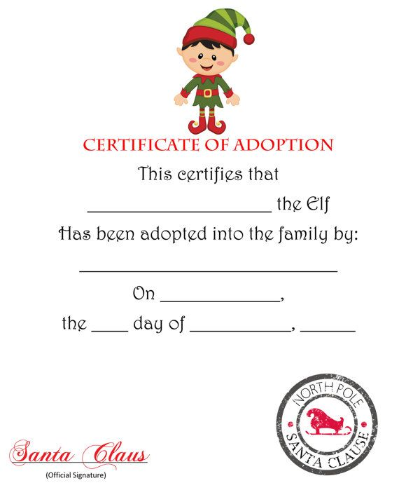 photograph regarding Free Printable Adoption Certificate identified as Elf Certification Printable - Xmas Printables