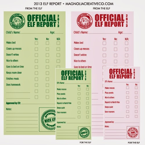 elf report card printable