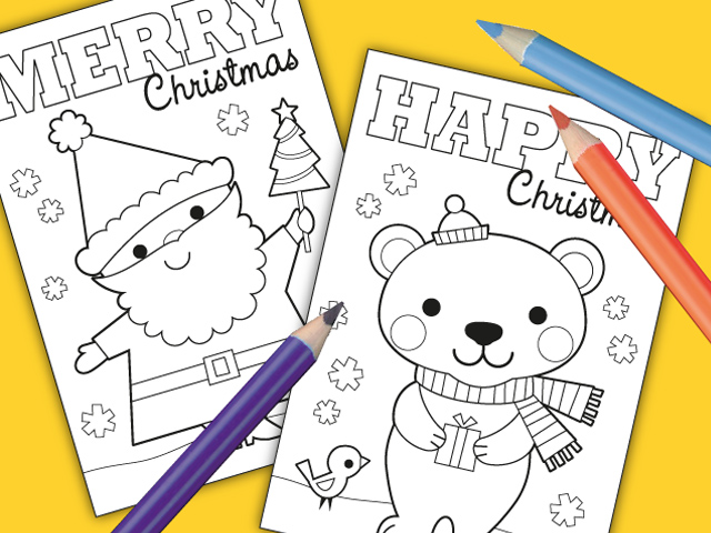 free printable christmas cards to colour