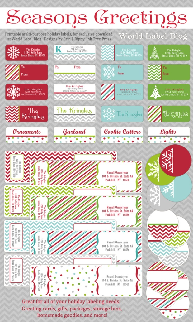 free printable christmas labels template