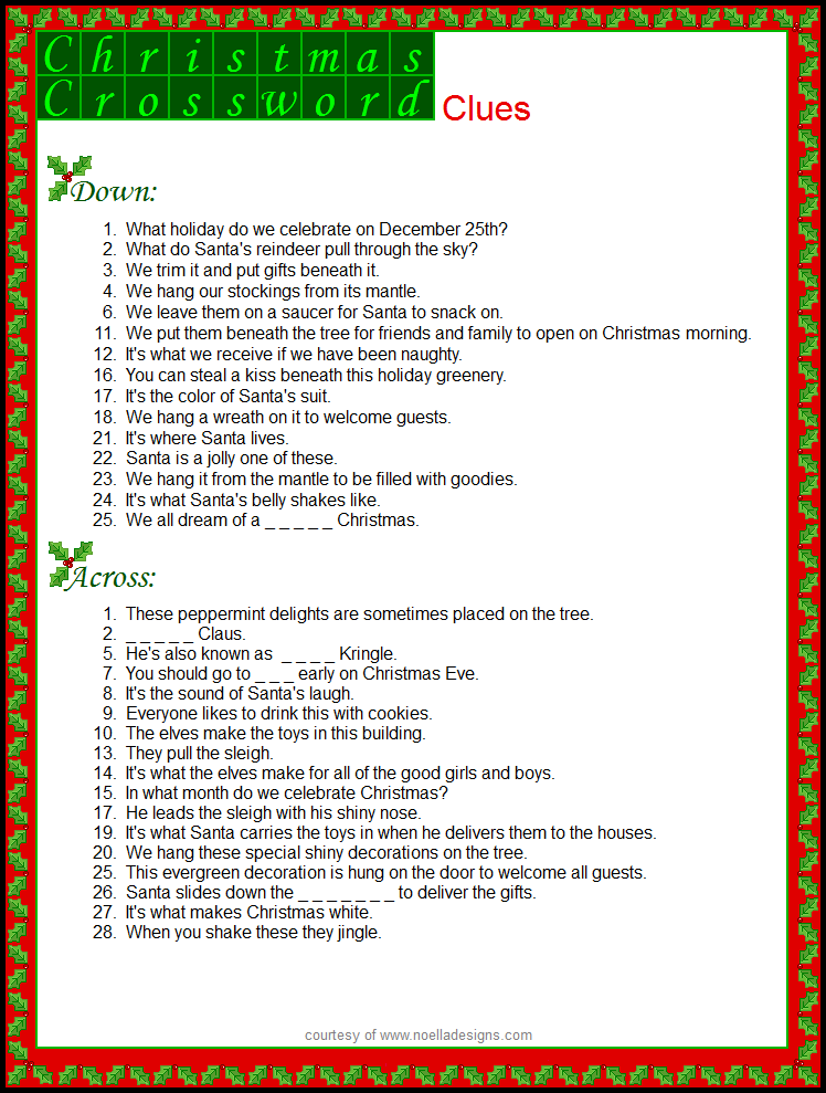 free printable christmas word games