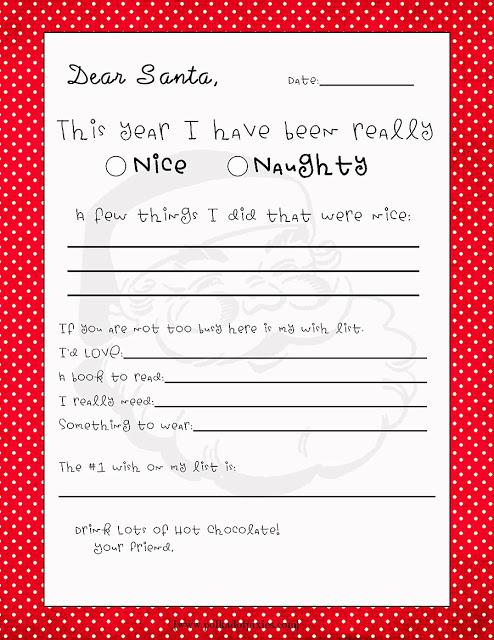 free printable letter to santa template