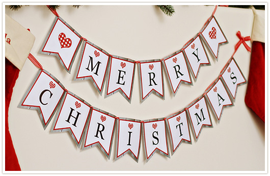 free printable merry christmas banner