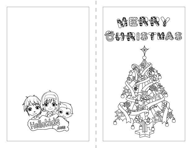 printable christmas cards to color for kids