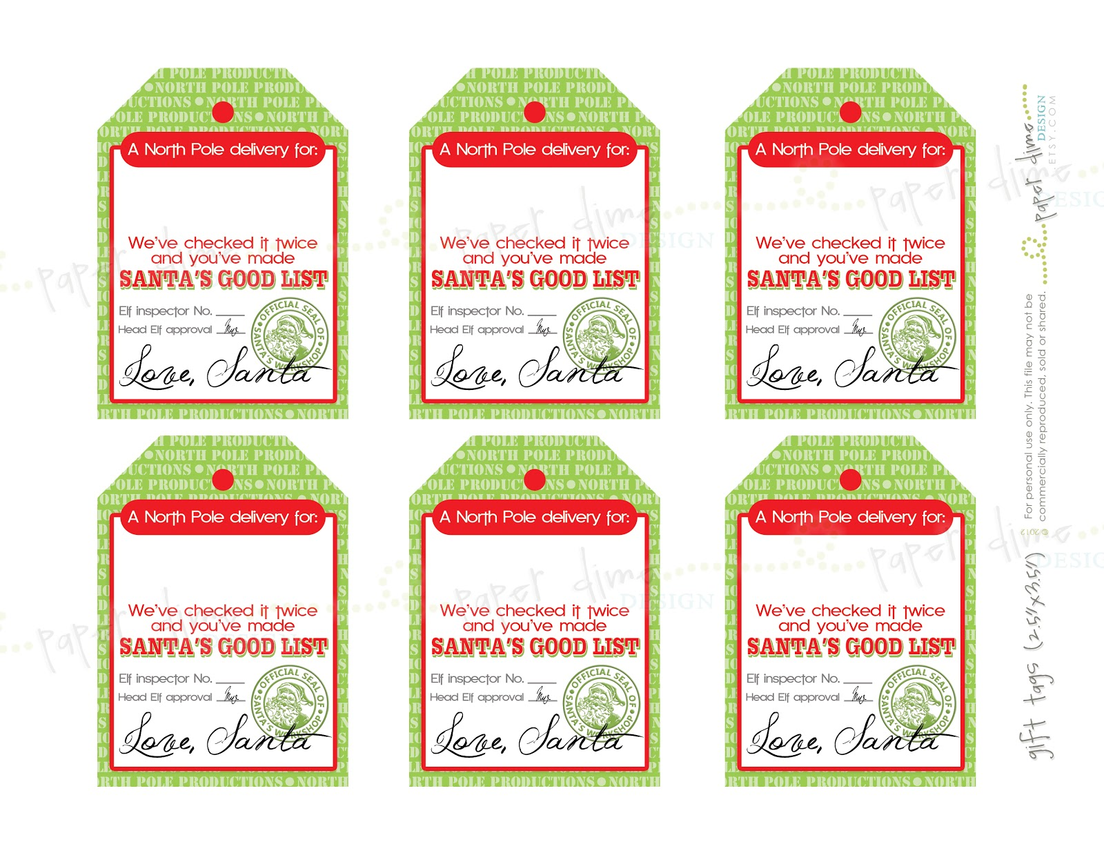 printable christmas tags from santa