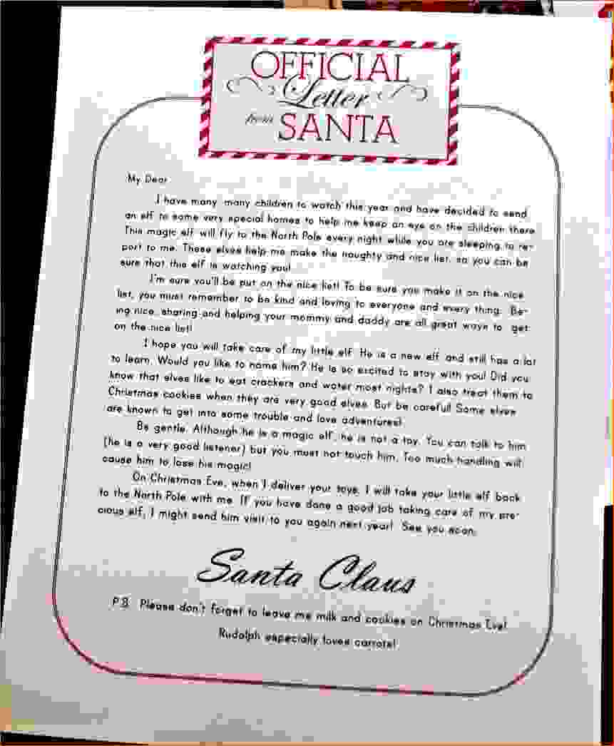 printable elf on the shelf introduction letter