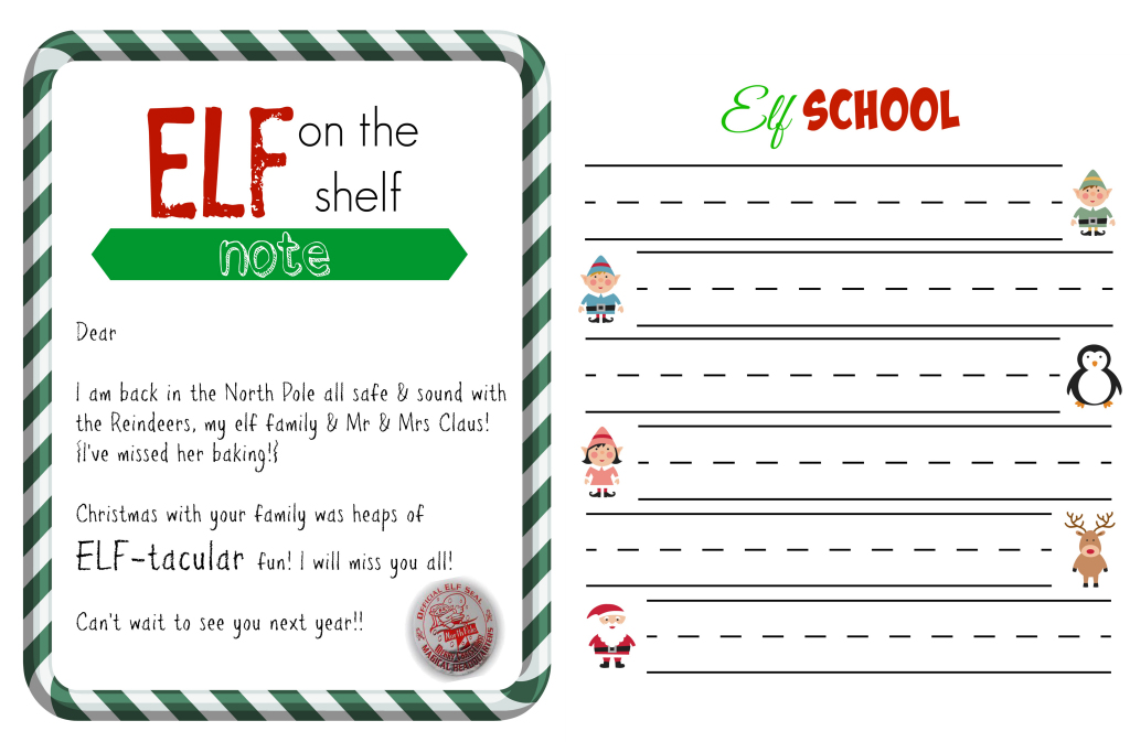 printable elf report card