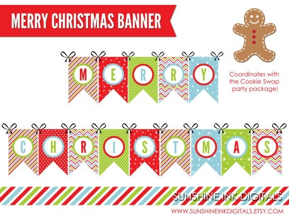 printable merry christmas letter banner