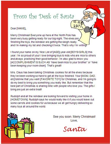 printable santa letters to write in