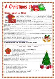 reading comprehension printables for christmas