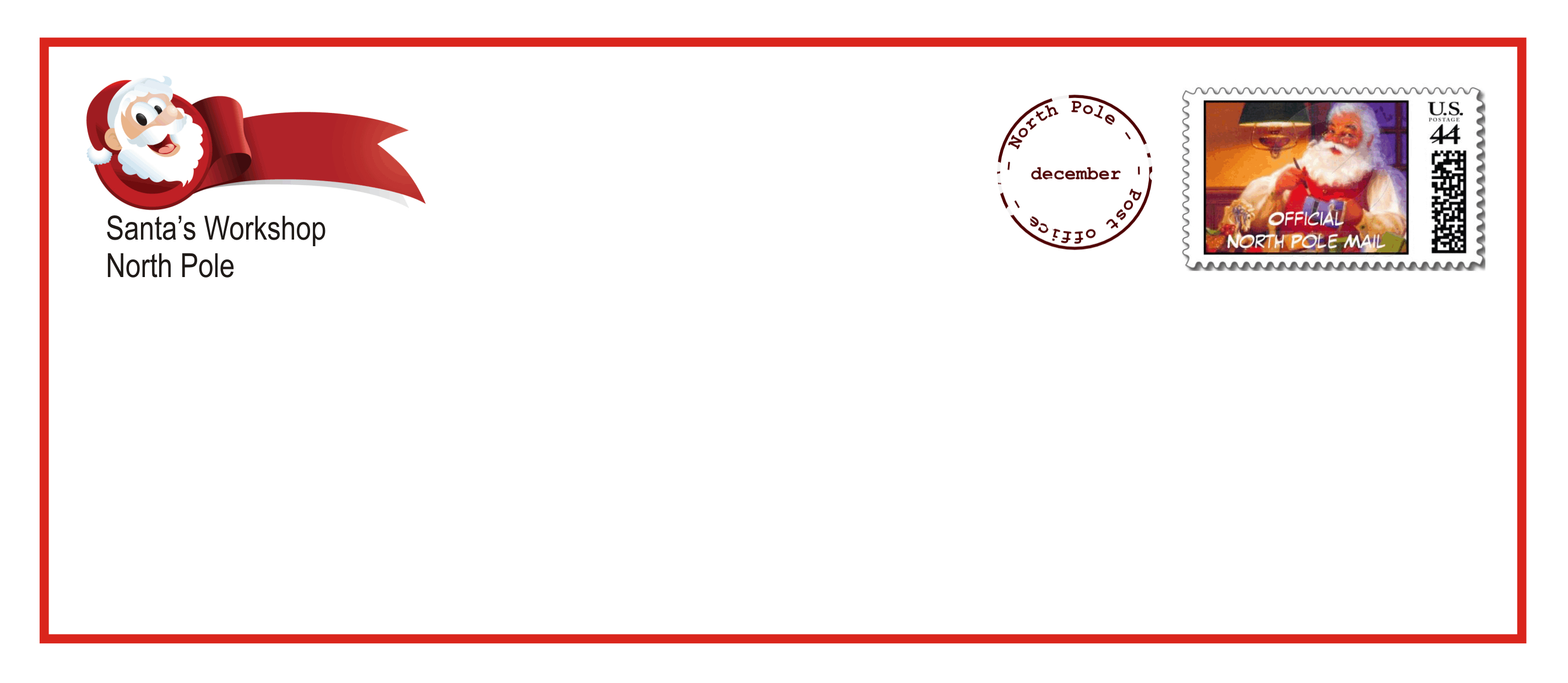 santa envelope template printable