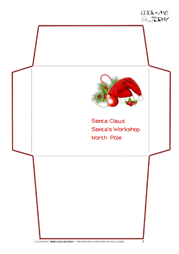 image relating to Santa Hat Printable titled Santa Envelope Template Printable - Xmas Printables