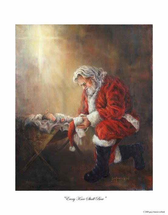 santa kneeling at the manger print