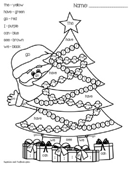 sight word printables for christmas