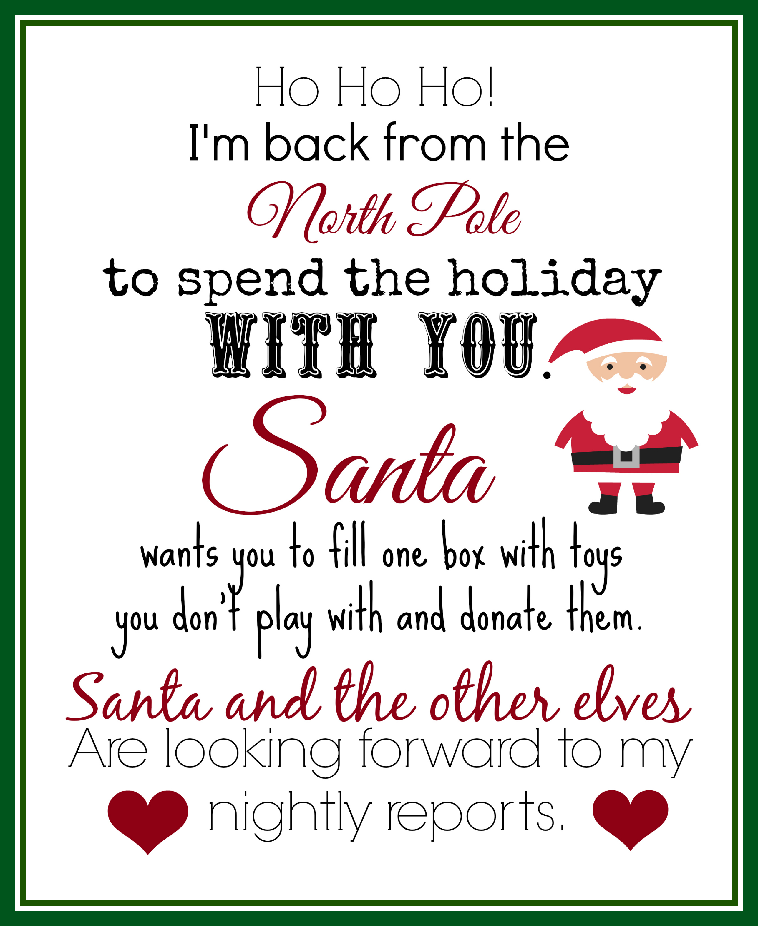 arrival letter from elf on the shelf printable