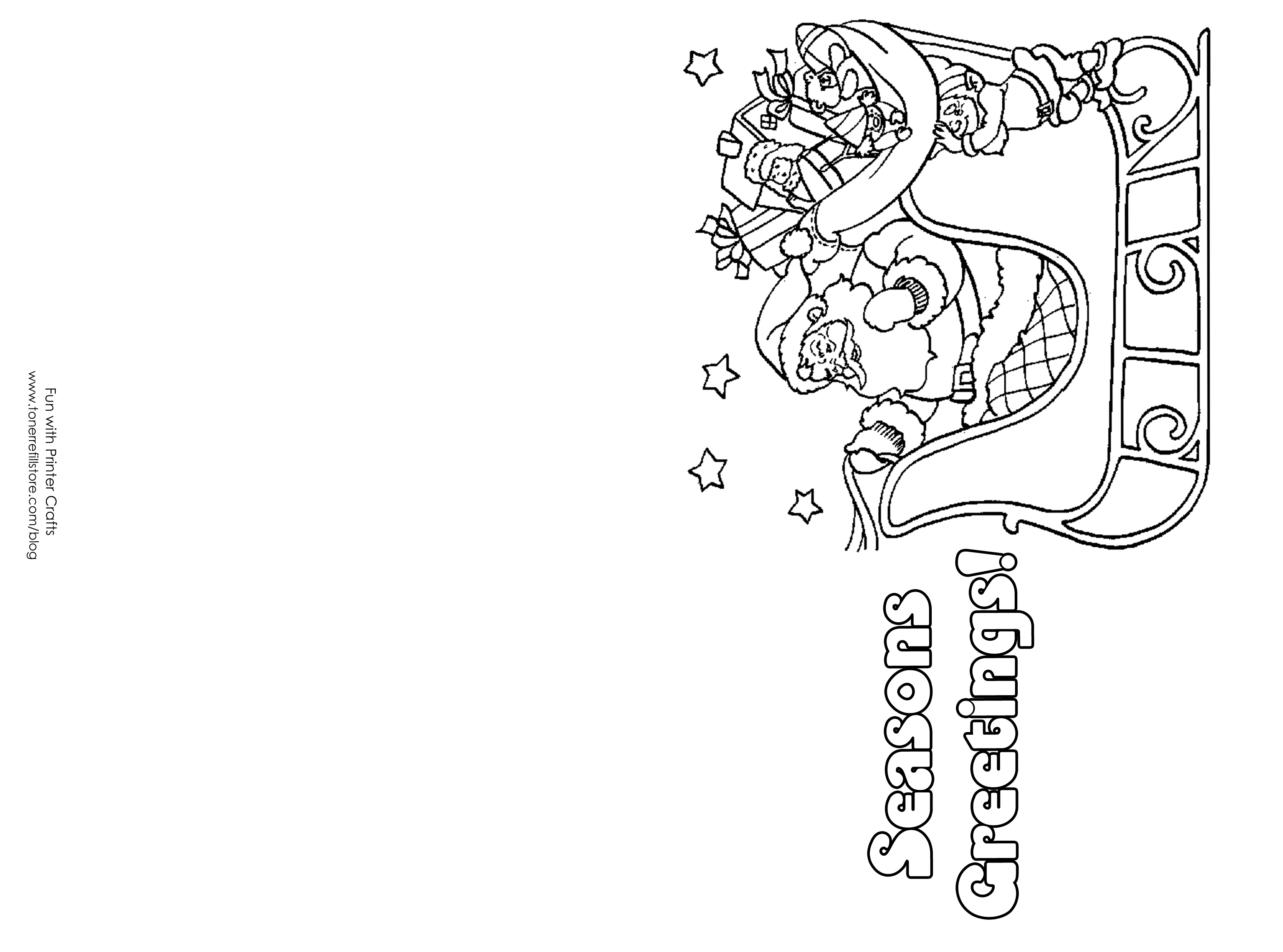 christmas cards to color and print for free