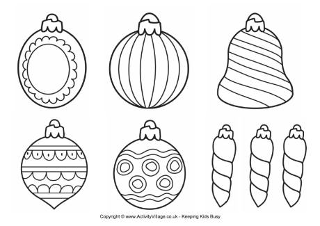 christmas decorations to colour printable