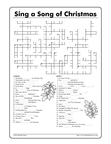 photograph about Holiday Crossword Puzzles Printable called Crossword Printables For Xmas - Xmas Printables