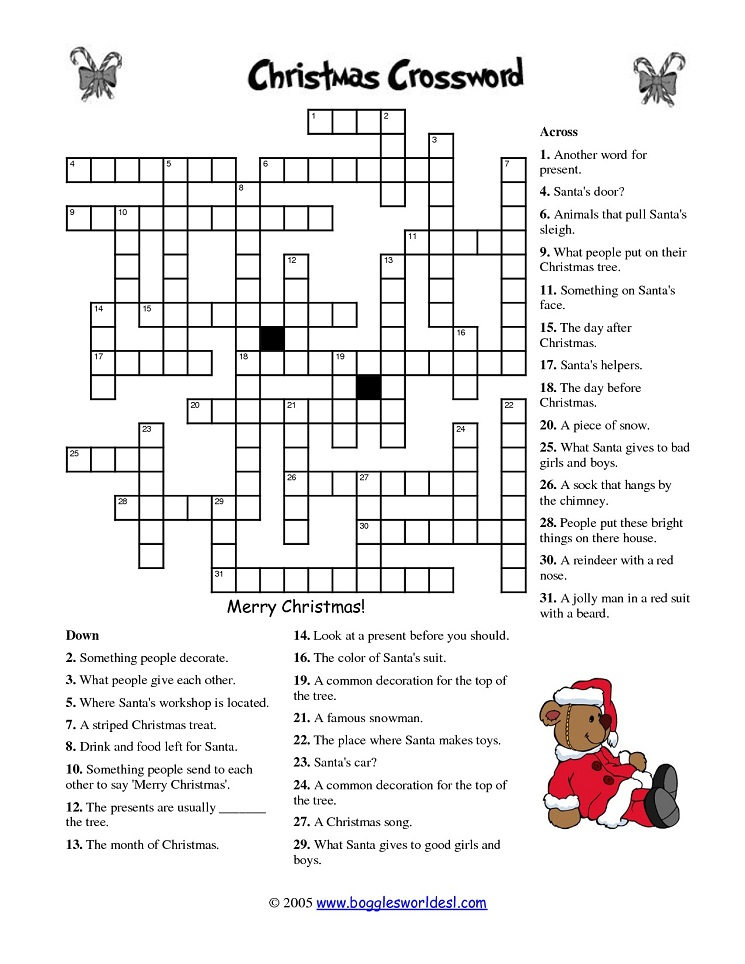 crossword printables for christmas