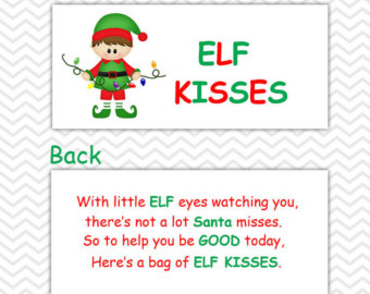 elf kisses printable labels