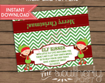 image regarding Christmas Bag Toppers Free Printable titled Elf Kisses Printable Labels - Xmas Printables