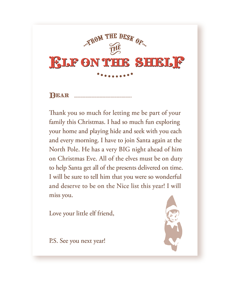 elf on a shelf goodbye letter free printable