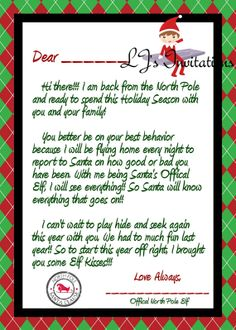 elf on the shelf hello letter printable