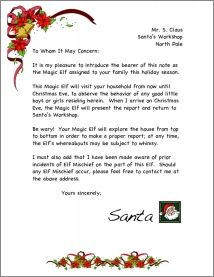 elf on the shelf introduction letter printable