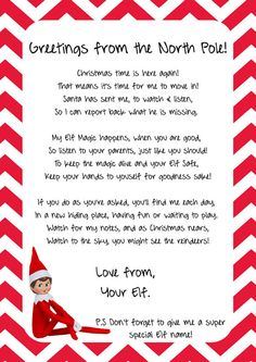 elf on the shelf printable arrival letter