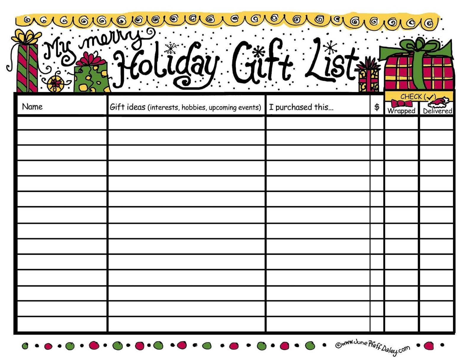 free printable christmas list template